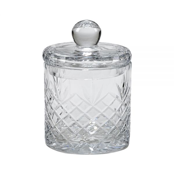 OPTIC CRYSTAL BISCUIT BARREL WITH MEDALLION ll PATTERN