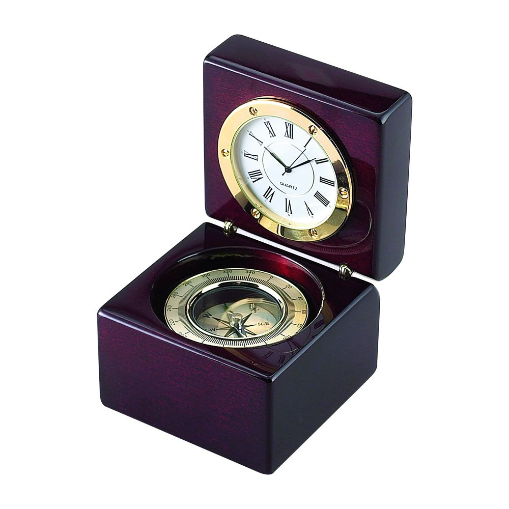 SQUARE WOOD BOX WITH CLOCK amp COMPASS IN PIANO FINISH