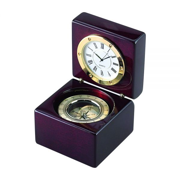 SQUARE WOOD BOX WITH CLOCK & COMPASS IN PIANO FINISH