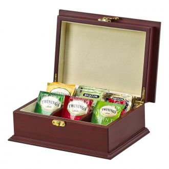 ROSEWOOD FINISHED WOOD TEA BOX WITH 6 COMPARTMENTS