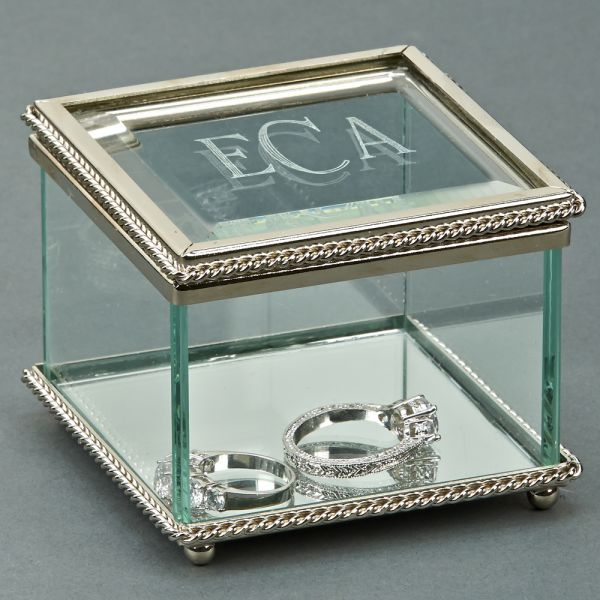 SQUARE GLASS BOX WITH HINGED COVER, 3.25