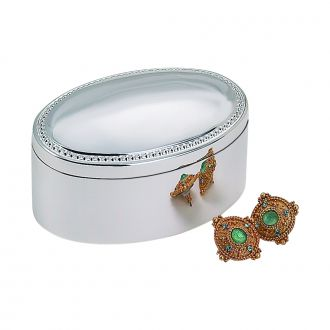 SILVERPLATED OVAL BOX WITH BEADED ANTIQUE DESIGN