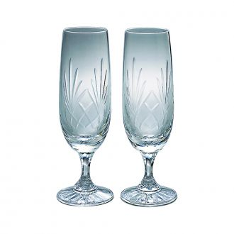 PAIR OF LEAD CRYSTAL CHAMPAGNE FLUTES WITH MEDALLION PATTERN