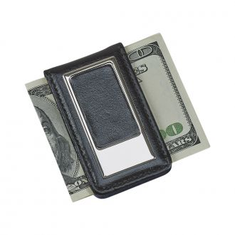 BLACK LEATHERETTE MONEY CLIP
