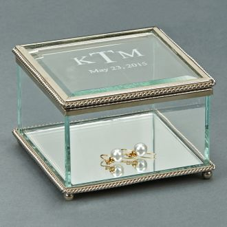 SQUARE GLASS BOX WITH HINGED COVER, 3.75