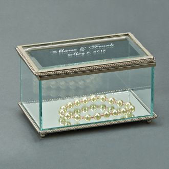 RECTANGULAR GLASS BOX WITH HINGED COVER, 5.25