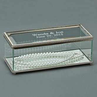 RECTANGULAR GLASS BOX WITH HINGED COVER, 8