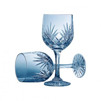 PAIR OF LEAD CRYSTAL WATER GOBLETS WITH MEDALLION PATTERN