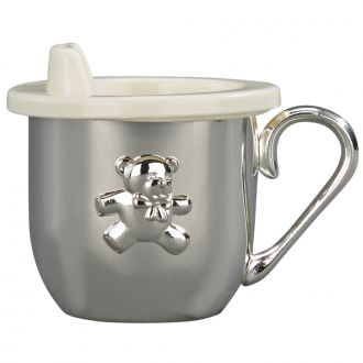 SILVERPLATED BABY CUP WITH CUP & SIPPY LID INSERT