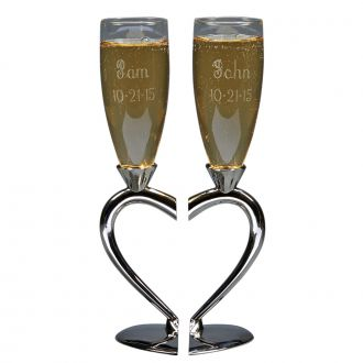 TOASTING GOBLETS WITH HEART SHAPED SEPARATING BASE & STEM