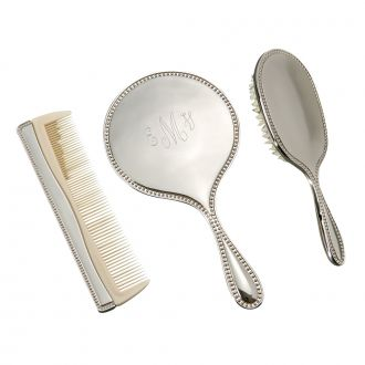3 PIECE DRESSER SET WITH MIRROR, BRUSH & COMB