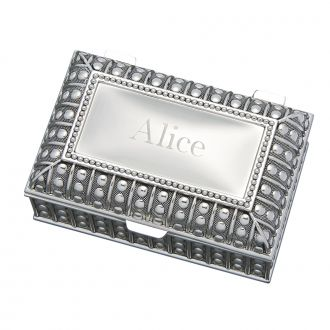 SILVERPLATED RECTANGULAR BOX WITH BEADED ANTIQUE DESIGN, 4.5