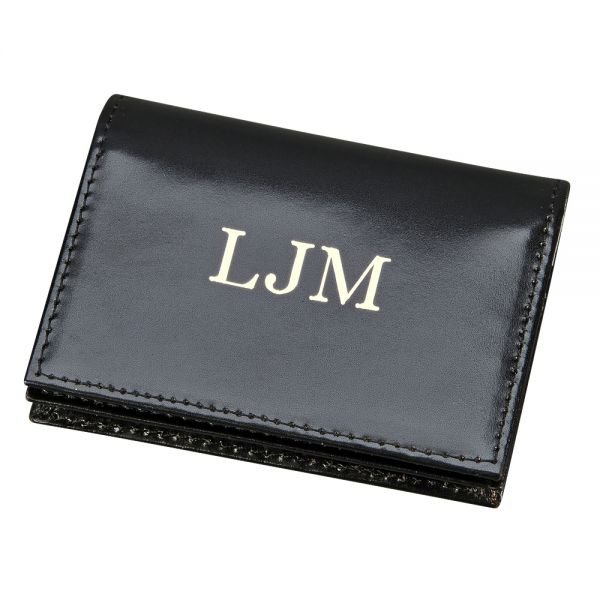 BLACK LEATHER EXPANDING CARD CASE