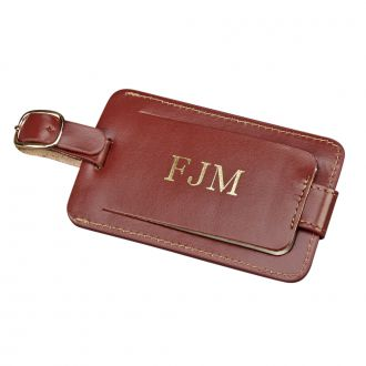 BROWN LEATHER LUGGAGE TAG WITH SNAP CLOSURE