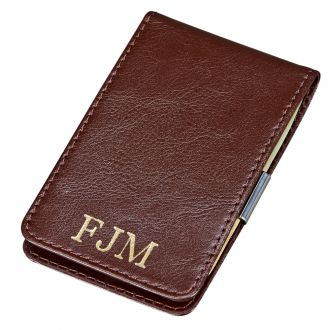 BROWN LEATHER BILLFOLD STYLE CASE WITH MONEY CLIP