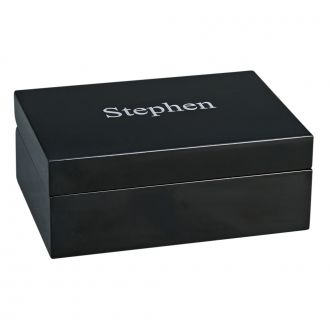 EBONY BLACK WOOD HINGED BOX, 4.5