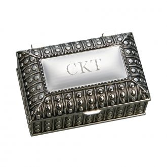 SILVERPLATED RECTANGULAR BOX WITH BEADED ANTIQUE DESIGN, 2.25