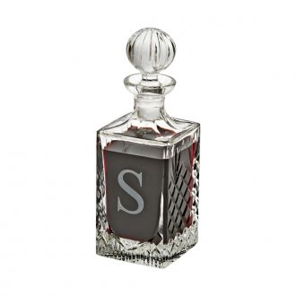 LEAD CRYSTAL SQUARE DECANTER WITH MEDALLION PATTERN