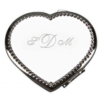 BEADED BORDER HEART SHAPED COMPACT