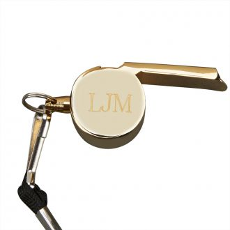 GOLDPLATED COACH'S WHISTLE WITH LANYARD