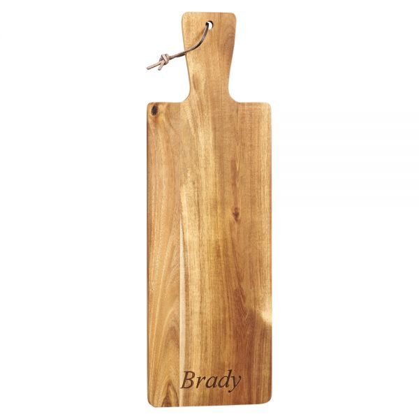 ACACIA WOOD HANDLED BREAD BOARD