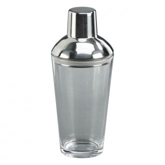 Glass Bottom Cocktail Shaker with Stainless Steel Cover, 14 Ounce Capacity