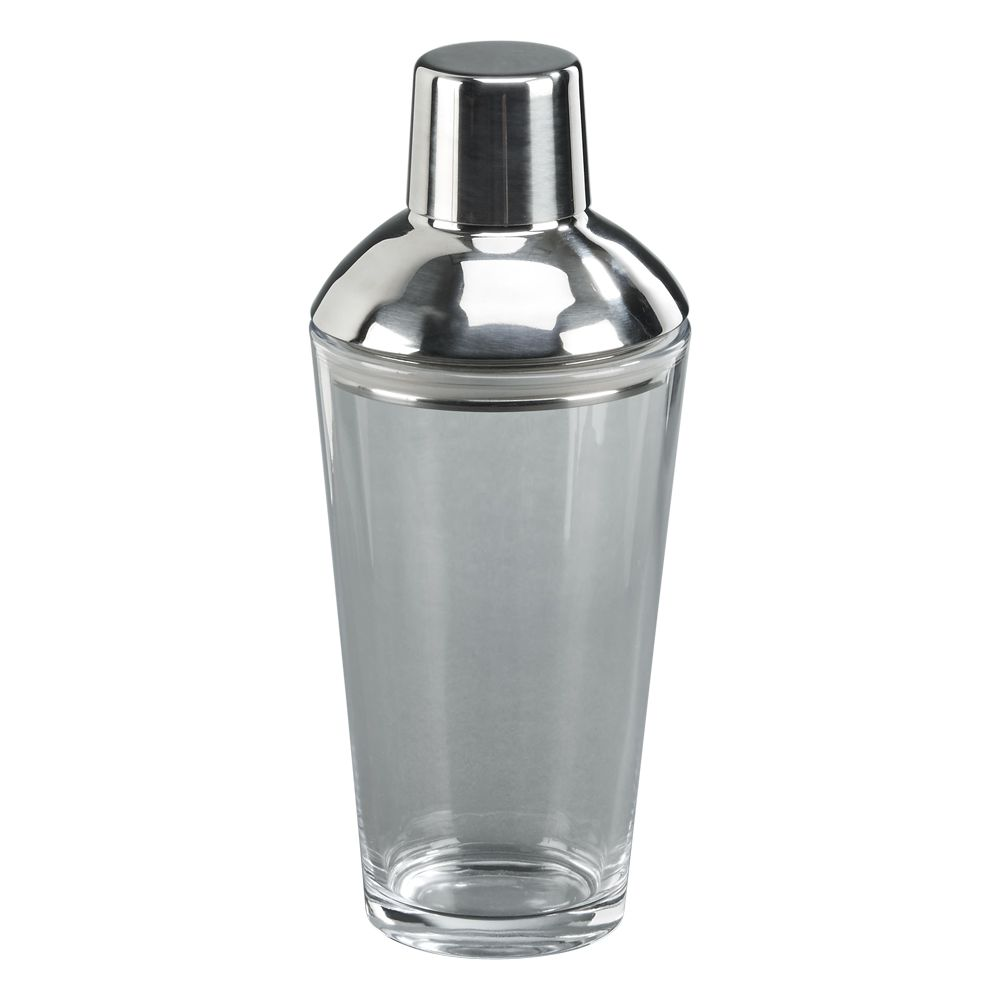 glass bottom cocktail shaker with stainless steel cover