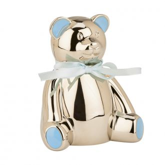 Teddy Bear Bank with Blue Highlights, 4
